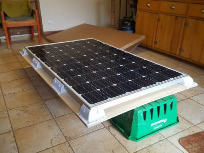Solar panel on its marine plywood support