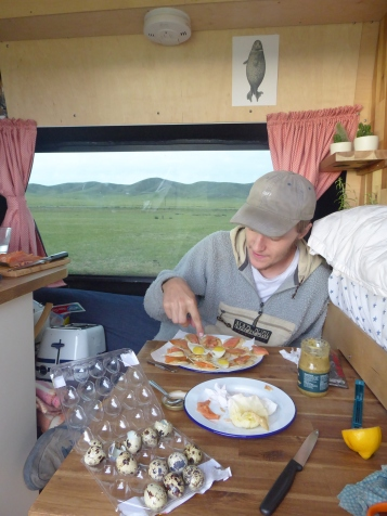 Quals egg blinis on the steppes...